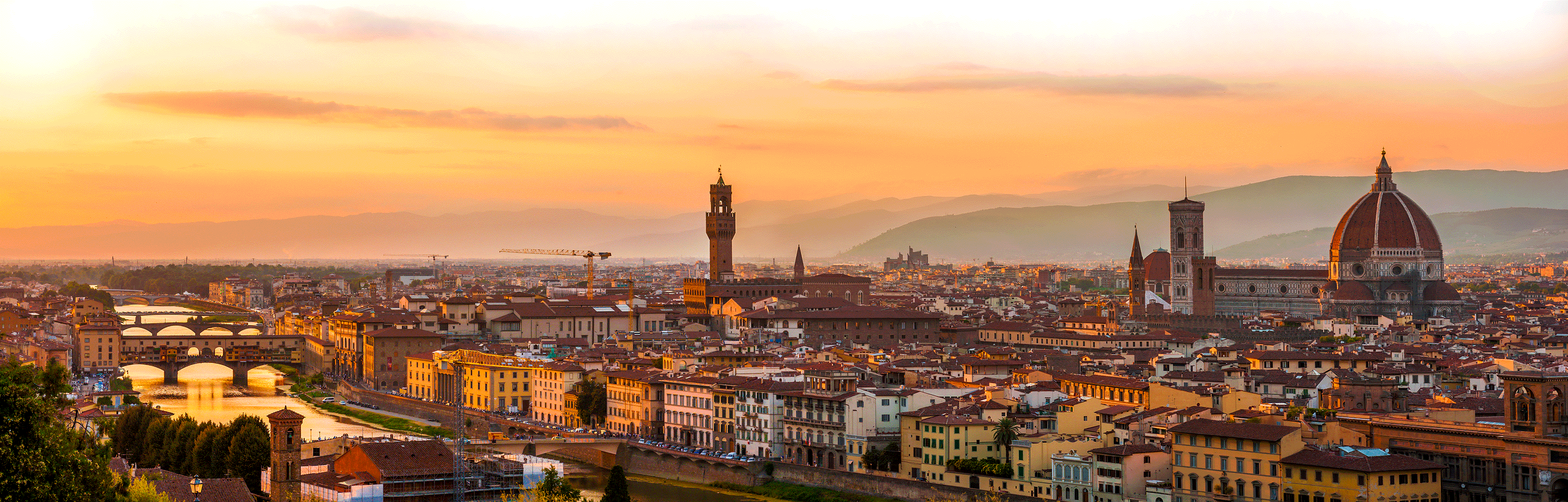 Florence Italy skyline at sunset